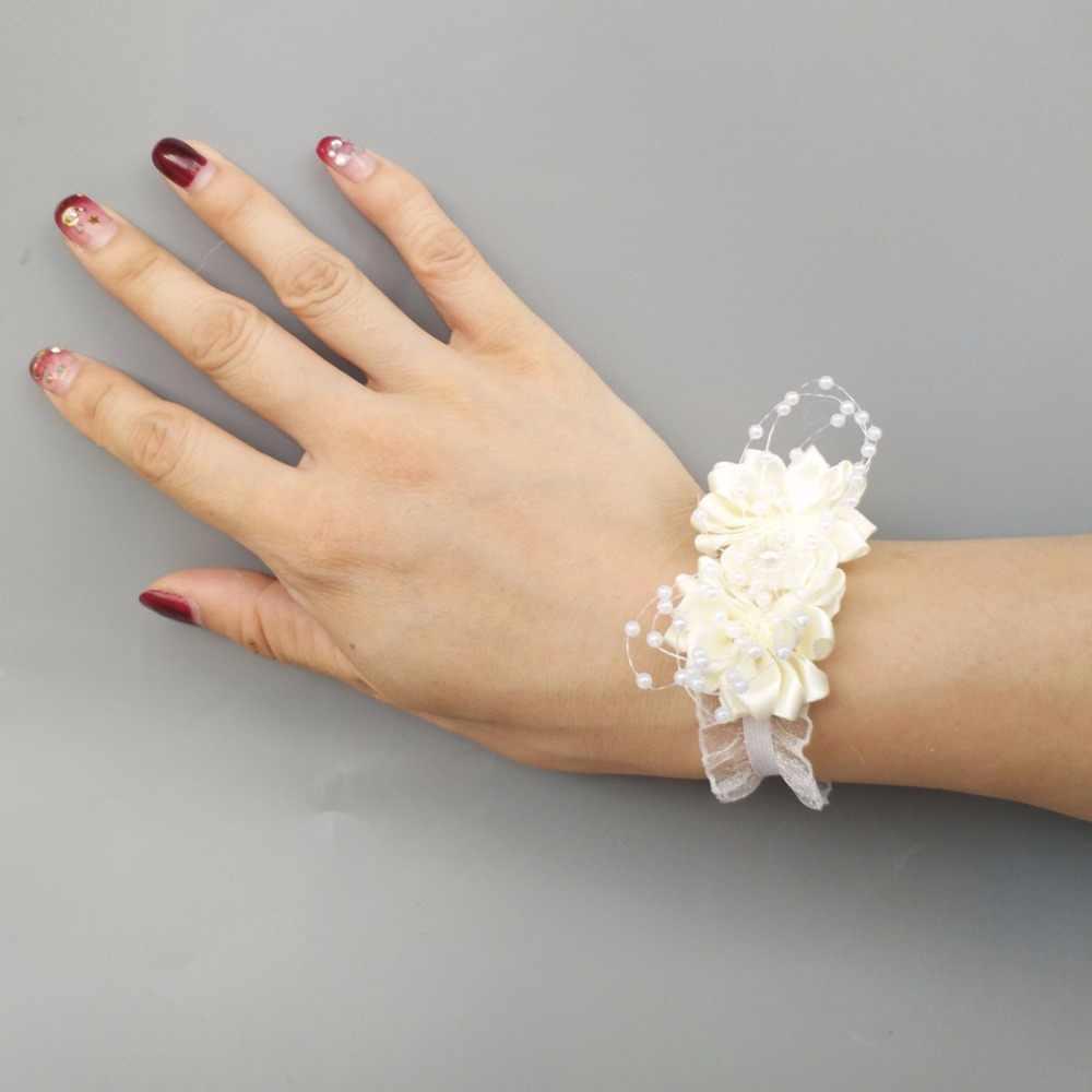 8 ピース/ロット高品質アイボリーホワイトウェディング手首の手の花花嫁ブライド手首コサージュ装飾ブライダルウエディング SW0679