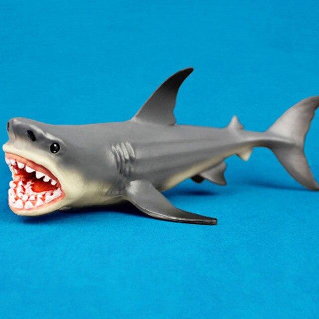 Серый Megalodon достаринная Акула океан образование животное фигурка Модель Детская игрушка подарок игрушки для детей/подарок для взрослых 18*10 см