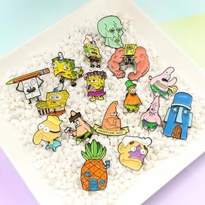 Leuke anime SpongeBob en Patrick Star diverse overdreven stijl serie broche Squidward Ananas huis Metalen badge(China)