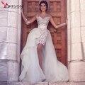 Арабский о шеи чисто с длинным рукавом кружева короткие свадебные платья со съемными поезд 2016 невесты свадебные платья свадебные платья