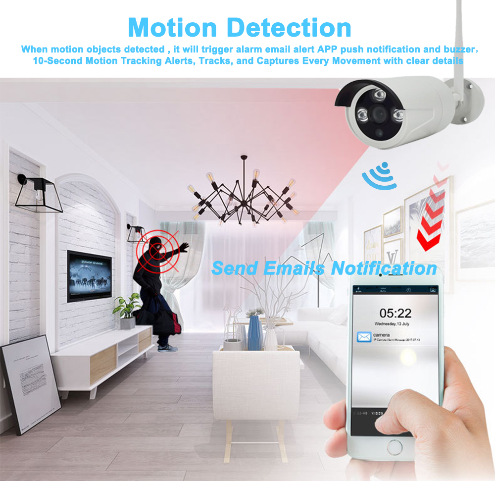 8CH Wireless CCTV System 720P 1TB 2TB HDD 1 0MP NVR IP IR CUT Outdoor WIFI CCTV Camera IP Security System Video Surveillance Kit in Surveillance System from Security Protection