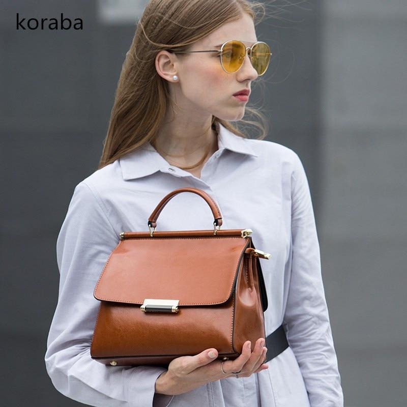 Brand Women Bag Vintage Shoulder Bags Women Handbags Designer Genuine Leather Bags Ladies 2018 Solid Simple Fashion Cover Bag