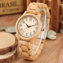 النساء ساعة خشب الطبيعي جميع الخيزران الخشب ساعة الساعات أعلى العلامة التجارية الفاخرة الكوارتز السيدات اللباس ووتش السوار الخشبي كما أفضل الهدايا