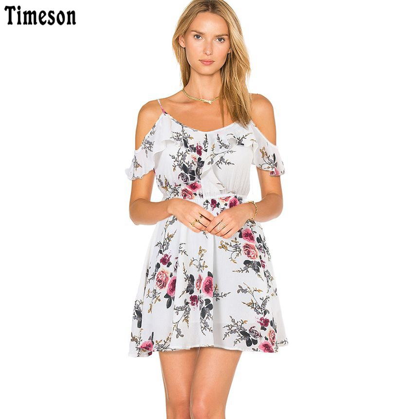 Timeson Summer Floral Print Women Chiffon White Dress Ruffle Off Shoulder Spaghetti Strap Female Tunic Girl Casual Beach Dresses