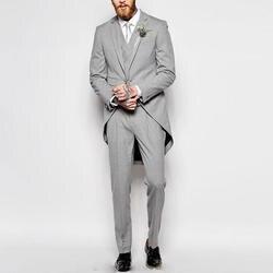 Для мужчин формальные Стиль 3 предмета Комплект для свадьбы жениха серый фрак для танцев ужин Пром Tail смокинг (пиджак жилет и брюки) 20180921