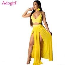 Adogirl Women Sexy Spaghetti Straps Chiffon Two Piece Set Dress V Neck Crop Top + High Slit Maxi Skirt Summer Beach Outfits