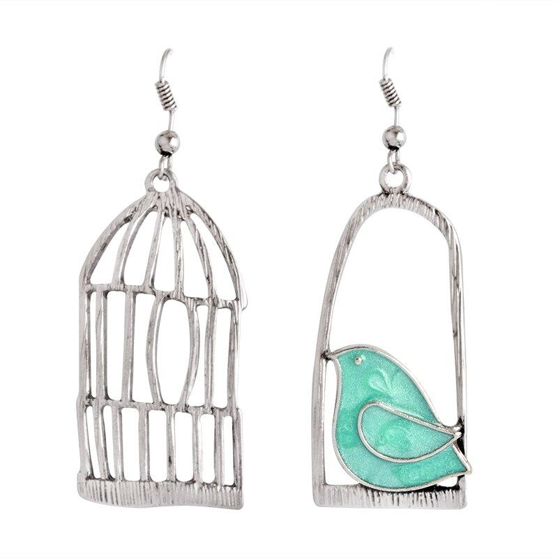 Мисс Зое, милые Креативные Винтажные серьги, эмаль, птица, клетка, бронзовые серьги-капли, женские серьги, Brincos de gota feminino - Окраска металла: style1