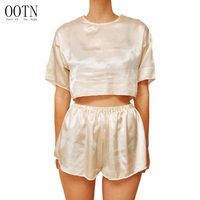 OOTN Women Sets O-neck Beige Summer Clothing Fitne ...