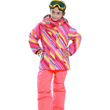 Girls Ski Suit Windproof Waterproof Rainbow Kids Snowboard Jacket and Pants Free Shipping PH81608 Ski Suit