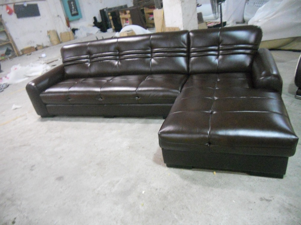 2015 european modern design small l shaped genuine leather for Leather sofa for small living room