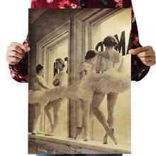 Балетные девушки в остальном винтажная крафт-бумага классический фильм плакат карта школы стены гаража украшения художественные принты в стиле ретро