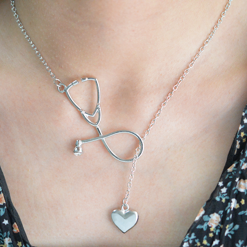 Stethoscope and Heart Pendant Necklace Nurse Doctor Medical Students Graduation Gift Men Women Unisex Jewelry