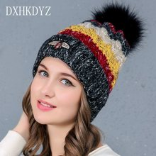 DXHKDYZ 2017 new autumn and winter wool hat knitted hat female cap small bee four-color knitted hat plus velvet thick hat