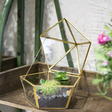 NCYP Modern Style Jewel-boxed Garden Planter Glass Geometric Terrarium Succulent Planter seedling Box Artistic Brass Plant Pot