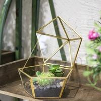NCYP Modern Style Jewel boxed Garden Planter Glass Geometric Terrarium Succulent Planter seedling Box Artistic Brass Plant Pot