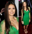 2016 New arrival Full Sleeves Sheer V-neck Sexy Nina Dobrev In Elie Saab Green A-Line Knee-length Cheap Celebrity Dresses 0899