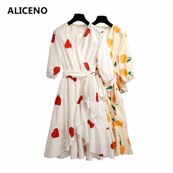 ALICENO 2019 Summer Big Size 100-150KG WEAR Waist with Sashes V-Neck Flower Print Women Casual Dress Half Sleeve Mini Dress 1