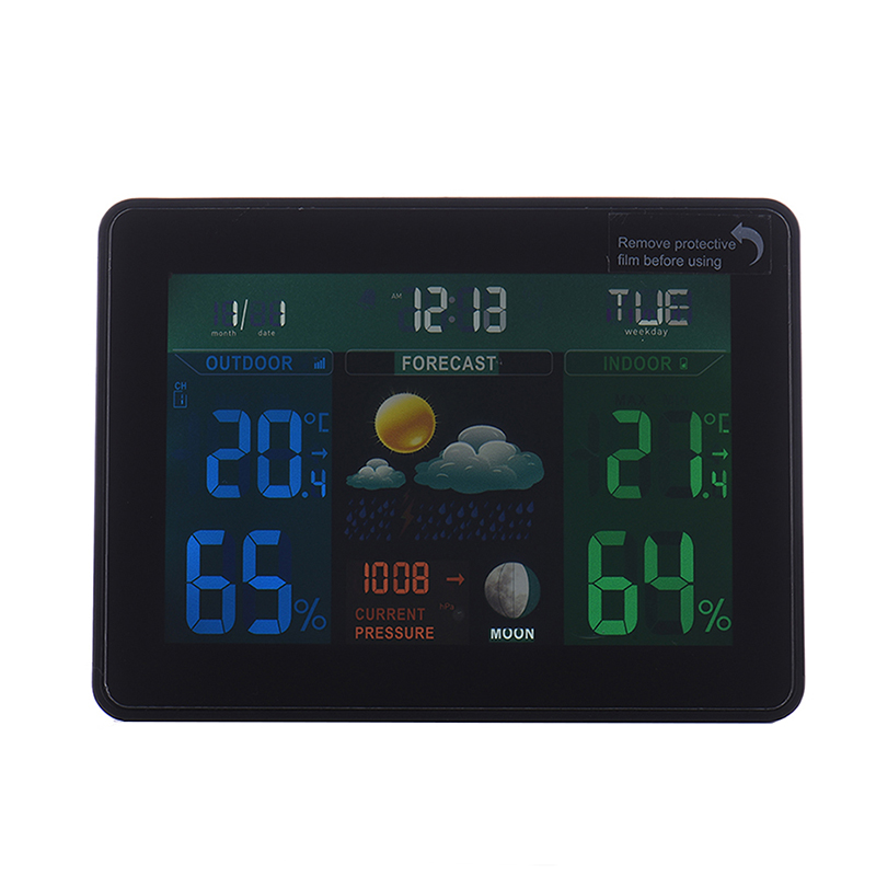 Weather Station Temperature Humidity Meter Double Sensor Hygrometer Digital Thermometer Wireless Touch LCD Clock Indoor Outdoor купить