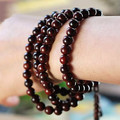 108 Pieces Prayer Beads 8MM Natural Red Sandalwood with Chinese Knot Multi-turn Unisex Bracelet for Women & Men Ethnic Jewelry