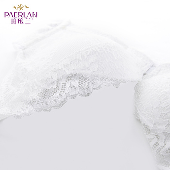 PAERLAN Sexy Push Up Thin Lace Bra Floral Bow Front Closure Seamless Wire Free  Small Breast White 1/2 Cup Women Underwear 5