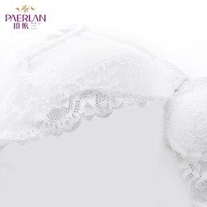 Image 5 - PAERLAN Sexy Push Up Dünne Spitze Bh Floral Bogen Verschluss Vorne Nahtlose Draht Freies Kleine Brust Weiß 1/2 Tasse Frauen unterwäsche