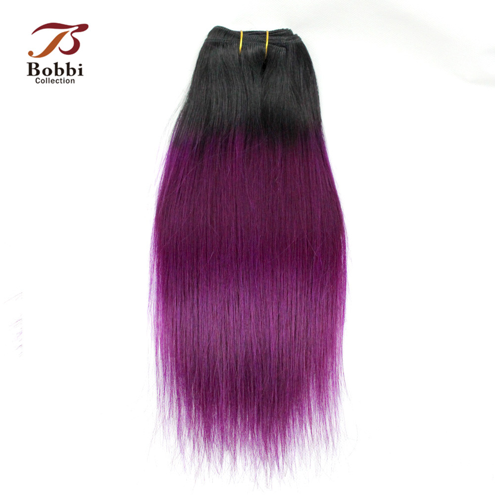 Bobbi Collection 2/3 Bundles Two Tone T 1B Purple Ombre Hair Weave Bundles Brazilian Straight Remy Human Hair Extension