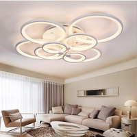 FULOC Rings White Finished Chandeliers LED Circle Modern Chandelier Lights For Living Room Acrylic Lampara De