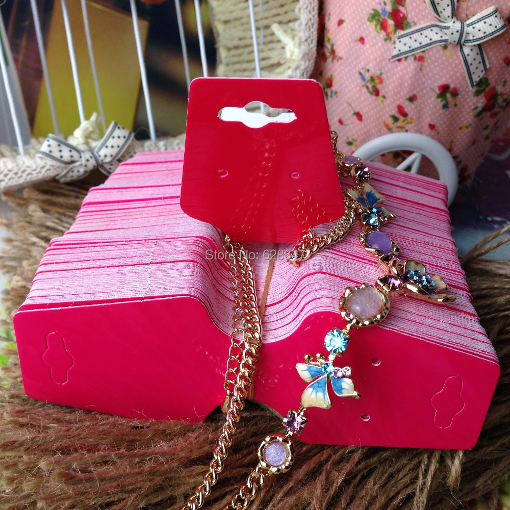 2015 New Hot Blank Hot Pink Necklace Card &DIY Earring