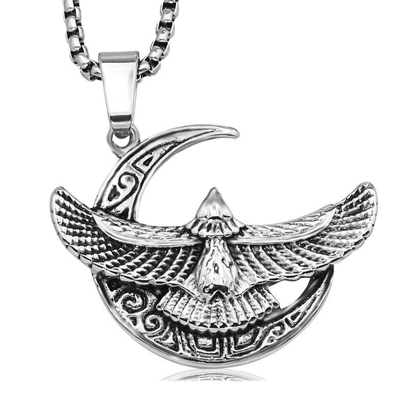 316 Titanium Stainless Steel Men Necklace Vintage Flied Bird Eagle Ankh Hiphop Cross Hawk Eagle Shape Pendant Necklace