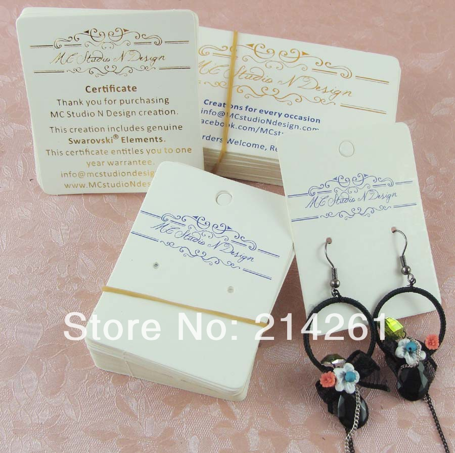Whole Free Shipping Custom Business Card Jewerly Golden Logo Earring Necklace Customied In Jewelry Packaging Display From
