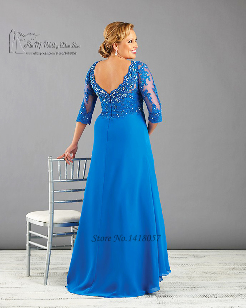 US $92.0 20% OFF|Blue Ivory Plus Size Mother of the Bride Dresses Lace  Formal Evening Dress Beaded Chiffon Vestido de Madrinha 2016 Custom Made-in  ...