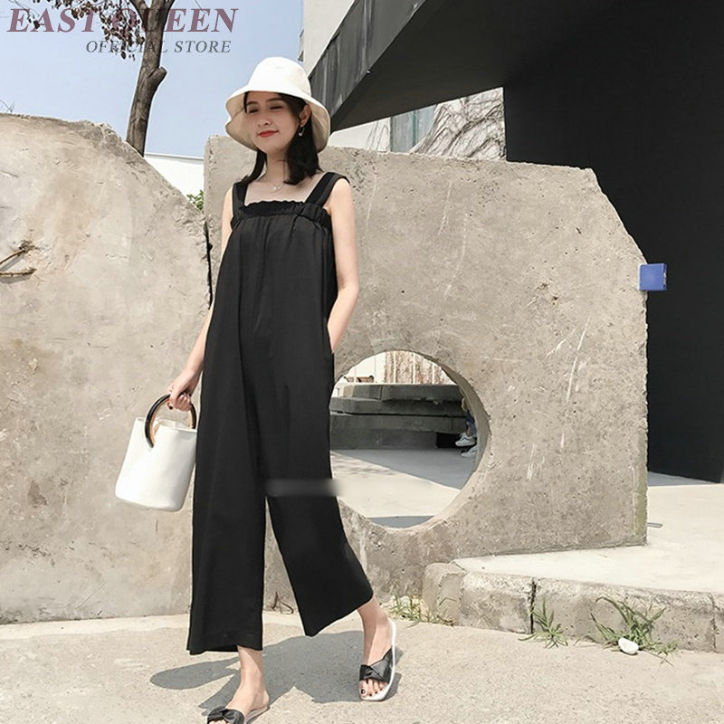 jumpsuits casual women off sholder top wide leg trousers spagetti strap sleeveless loose jumpsuit mujer pure black AA3749 Y a