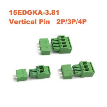 цена на 30/50/100sets Pitch 3.81mm Vertical Pin 2P 3P 4P Screw Plug-in PCB Terminal Block Pluggable Connector male/female 15EDGKA+VC