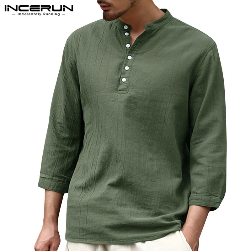 Men Henley Shirt Spring Casual Vintage Long Sleeve V-Neck T-Shirt Top Blouse