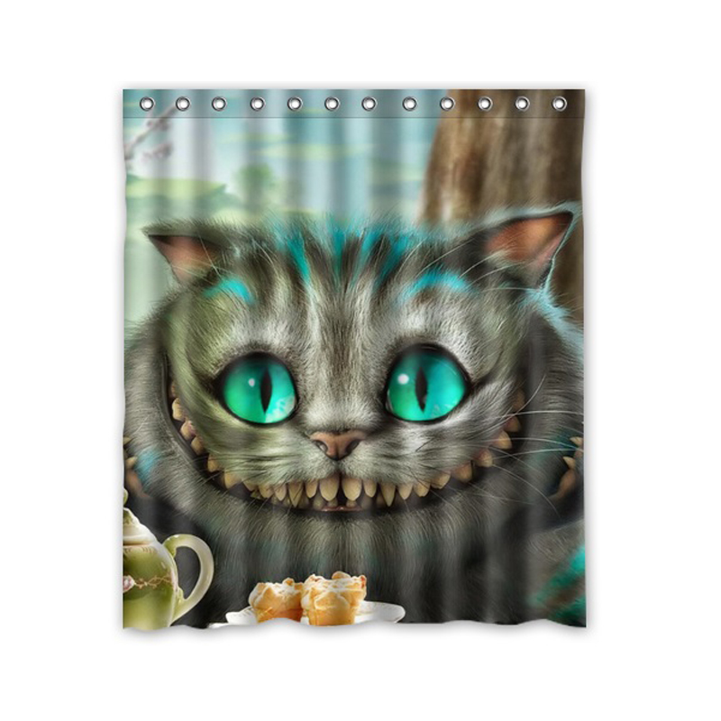 Decorative Polyester Bath Curtain Printed Alice in Wonderland Cat Shower Curtain Waterproof Size 152x182cm With Hooks