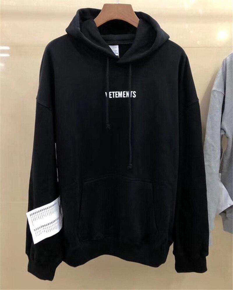 Vetements Hoodie Men Women Women 1:1 Sweatshirts Big Tag Hip Hop Vetements Hoodie Embroidery Black Gray Vetements Pullover