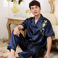 New 3 Colors Mens Satin Slik Sleepwear Pajamas Sets Button Short Sleeve Sleep Tops and Long Pants Bottoms QM02
