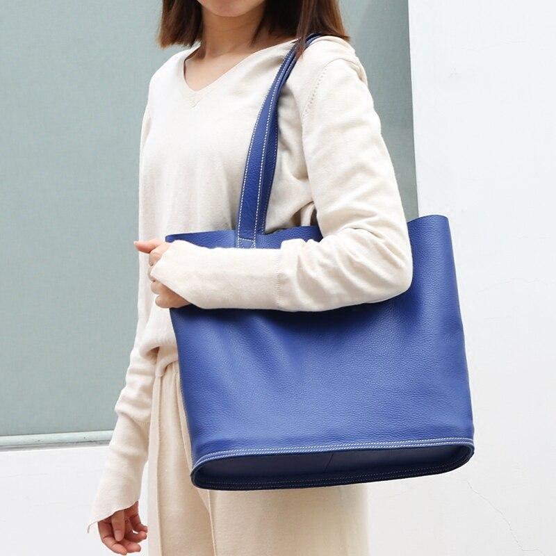 Image 3 - High Quality Women Luxury Genuine Leather Handbag Lady Simple Fashion Casual Shopping Bag Large Capacity Cowhide Shoulder Bagsfashion shoulder bagsshoulder bagsbag f -