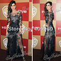 New Arrival Bateau Neck 3/4 Sleeves Black See Through Lace Berenice Marlohe Sexy Formal Celebrity Dresses Gowns