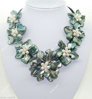 ÜCRETSIZ SHIPPINGHandmade Güzel Barok Shell Çiçek & Kültür Incileri kolye 18 ''