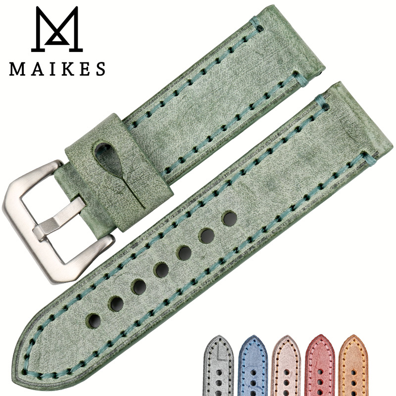 MAIKES Watch accessories 22mm 24mm watchbands fashion green English bridle cow leather watch band for Panerai strap