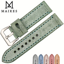 MAIKES Watch accessories 22mm 24mm watchbands fashion green English bridle cow leather watch band for Panerai watch strap цена 2017