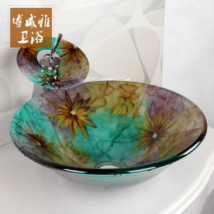 New Arrival Round Pots Glass Wash Basin Bathroom Cabinet Art