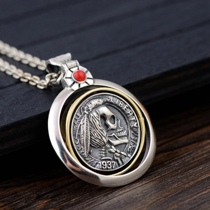 925 Sterling Silver Skull Pendants For Men Rotatable Vintage Punk Style Engraved Indian Head Inlaid Natural Onyx Red Stone