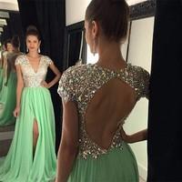 Хрустальные бусины вечернее платье 2019 длинное сексуальное с v образным вырезом короткий рукав, разрез Формальные вечернее платье цвета зел