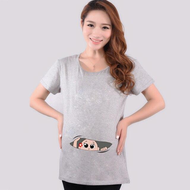 2016 лето беременным ребенок смешные выглядывал из рубашки беременность майка беременных топы тис одежда Premama носить одежду