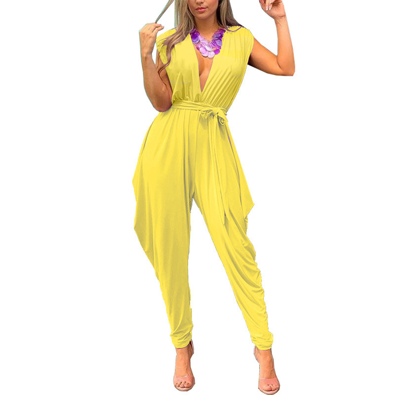 Lace Up Sleeveless   Jumpsuit   Summer Yellow Orange Elegant   Jumpsuits   Solid Women 2019 Deep V Neck Sexy   Jumpsuit