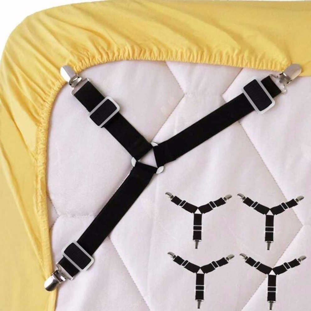 4PCS Adjustable Triangular Bed Mattress Sheet Metal Clips Grippers Straps Table Cloth Fasten Suspender Fastener Holder Shipping