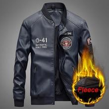 Fashion Leather Jacket Men Autumn Winter Military