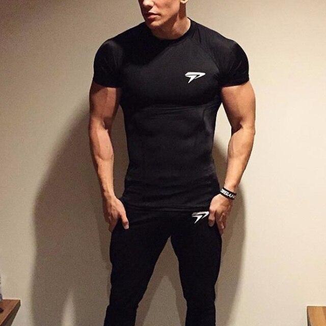 fe3d888e39b1f Compression Clothing Men s Short Sleeve T-Shirt Slim Fit Ajax Jersey  Crossfit Tee Shirt Homme Lycra Baseball Shirt Black T-Shirt